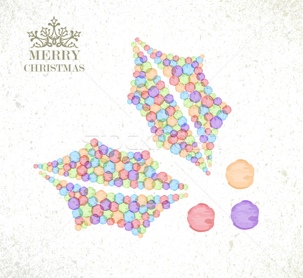 Merry Christmas watercolor holly berry card Stock photo © cienpies