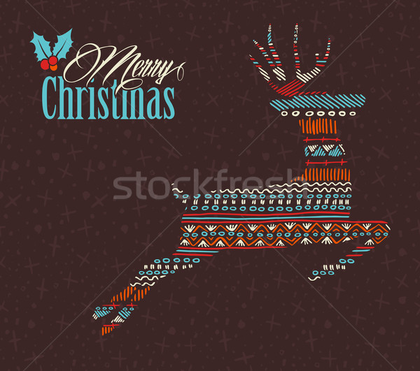 Merry christmas reindeer boho tribal stripe shape Stock photo © cienpies