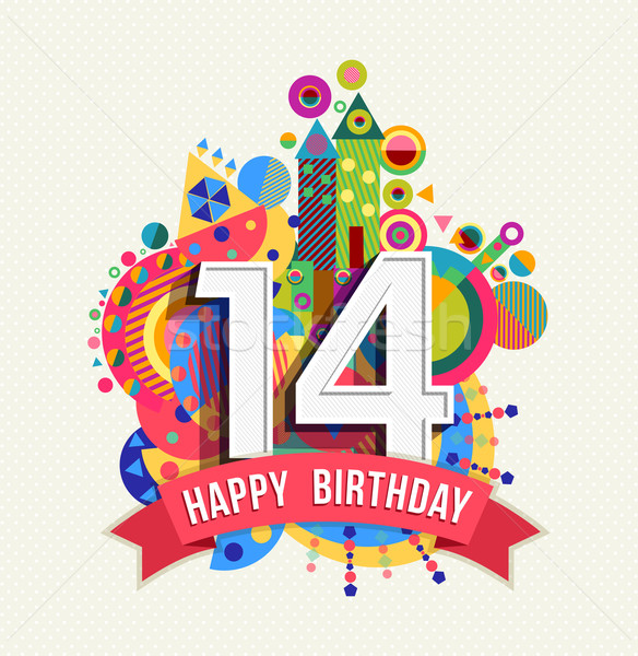 Happy birthday 14 year greeting card poster color Stock photo © cienpies