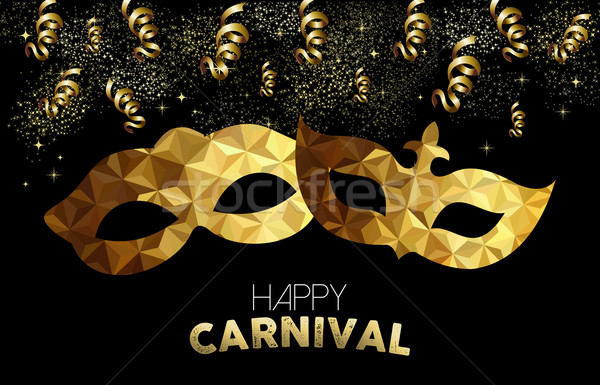 Gold low poly carnival masks with confetti Stock photo © cienpies