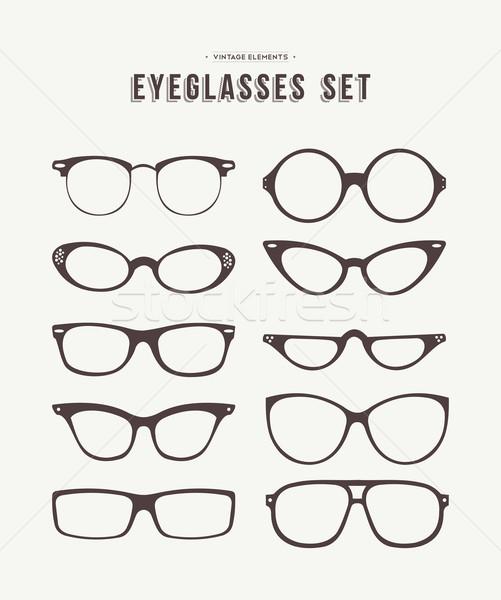 Hipster eye glasses icon set fashion illustration Stock photo © cienpies