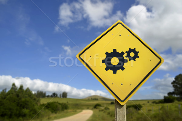Support access concept road sign with gear icon Stock photo © cienpies