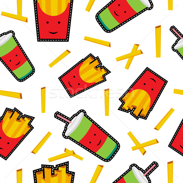 Fast food stitch patch icons seamless pattern Stock photo © cienpies
