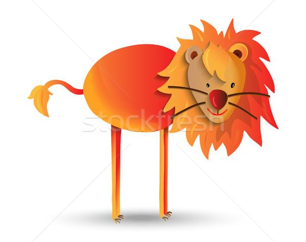 Cute cartoon illustration of happy wild lion Stock photo © cienpies
