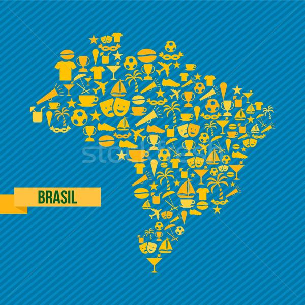 ブラジル ライフスタイル 地図 スポーツ 文化 ストックフォト © cienpies