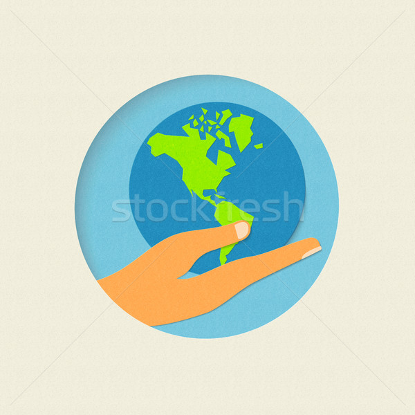 Earth day paper cut world environment concept  Stock photo © cienpies