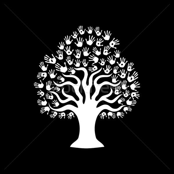 Foto stock: árvore · mão · ilustração · diverso · equipe · ajudar