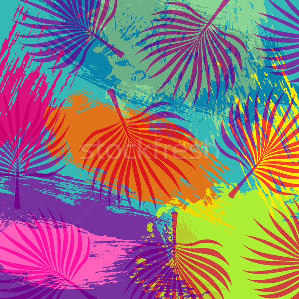 Tropical summer jungle palm tree leaf background Stock photo © cienpies