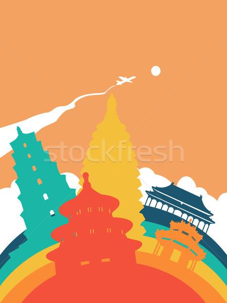 Utazás világ tájékozódási pont tájkép illusztráció kínai Stock fotó © cienpies