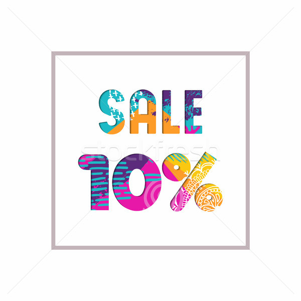 Sale 10% off color quote for business discount Stock photo © cienpies