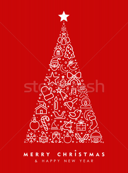 Holiday red pine tree outline icon card design Stock photo © cienpies