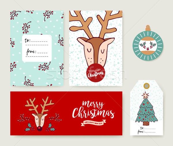 Karácsonyi üdvözlet sablon ünnep szarvas rajz szett Stock fotó © cienpies