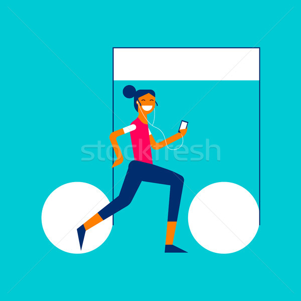 Music streaming service app girl concept design Stock photo © cienpies