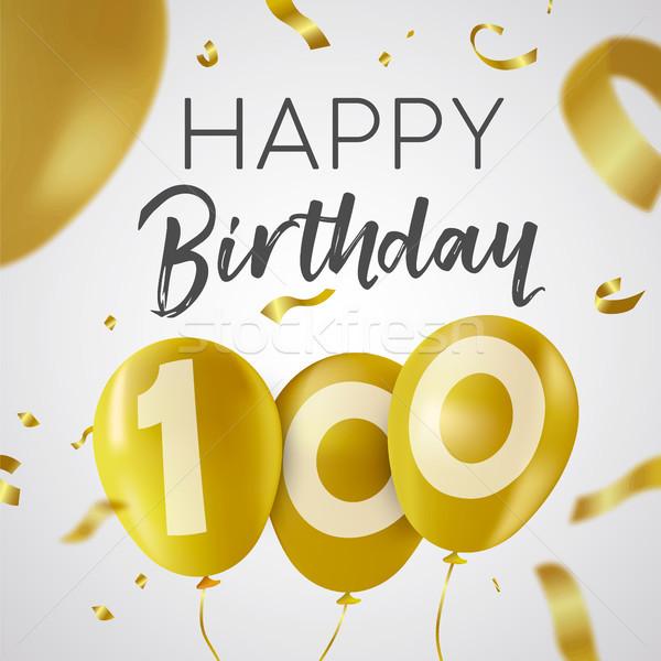 Stok fotoğraf: Mutlu · yıllar · 100 · yüz · yıl · altın · balon