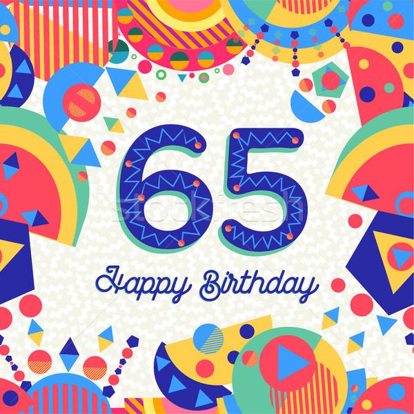 Zestig vijf jaar verjaardagsfeest wenskaart gelukkige verjaardag Stockfoto © cienpies