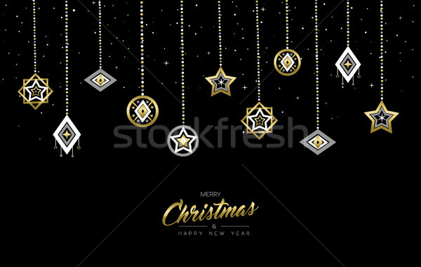 Stock photo: Christmas and New Year gold outline bauble card