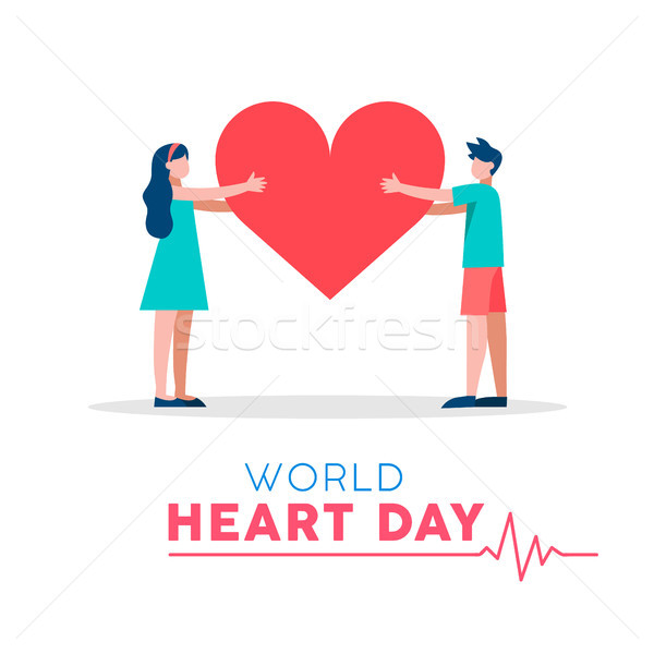 World Heart Day illustration for love and health Stock photo © cienpies