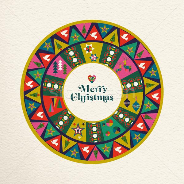 Photo stock: Joyeux · Noël · vintage · décoration · art · carte