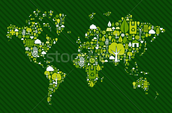 Globe World map with green icons Stock photo © cienpies