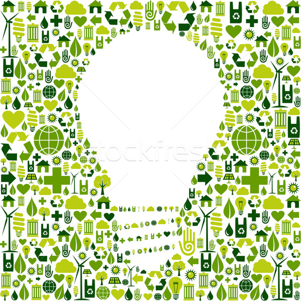 Light bulb symbol with green icons background Stock photo © cienpies