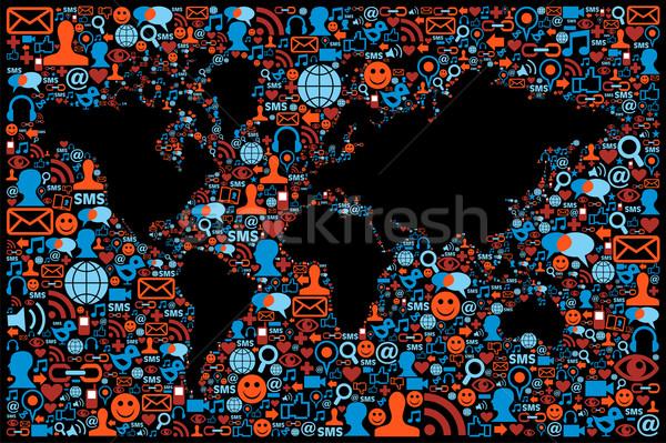 Social media netwerk wereldbol kaart Stockfoto © cienpies