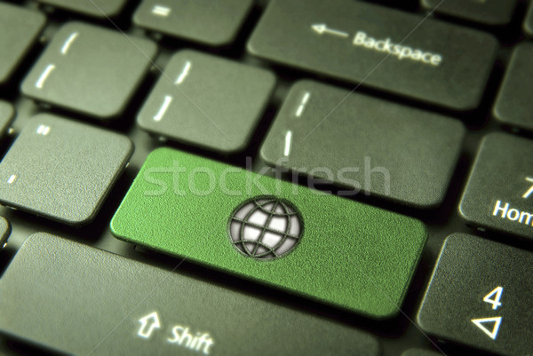 Go green keyboard key with globe icon, environment background Stock photo © cienpies