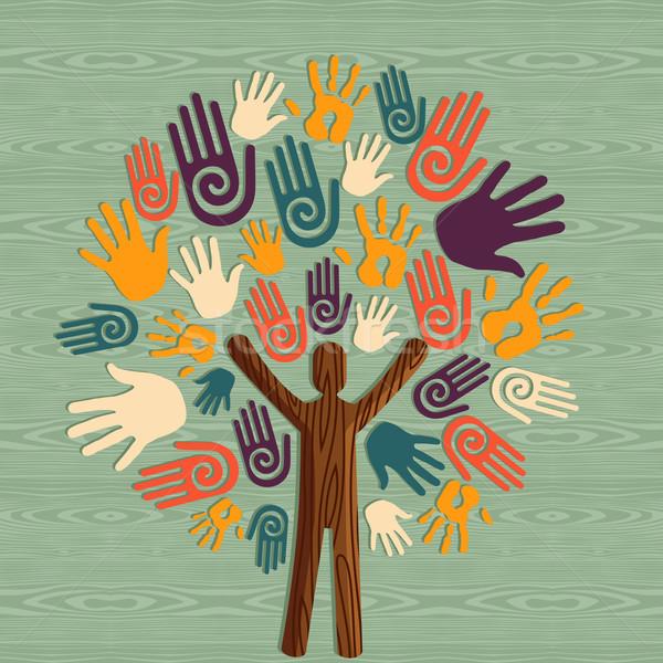 Diversidade humanismo árvore mãos global homem Foto stock © cienpies