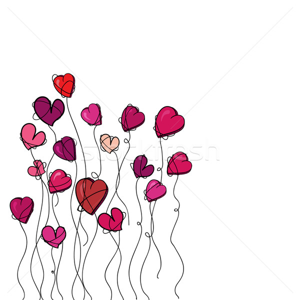 Valentine flowers heart background Stock photo © cienpies