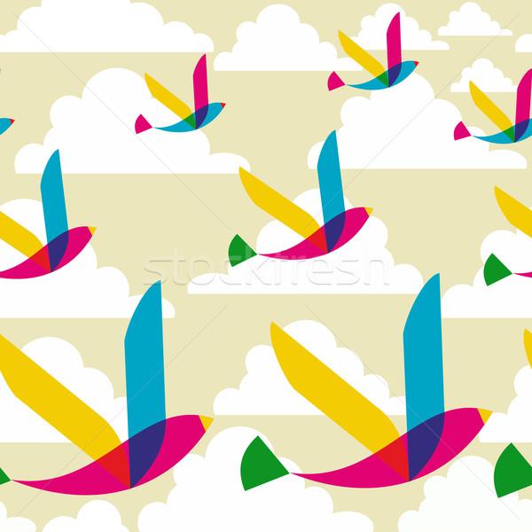 Transparent oiseaux modèle printemps transparence Photo stock © cienpies