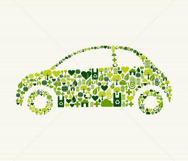 Verde carro ícones vintage luz projeto Foto stock © cienpies