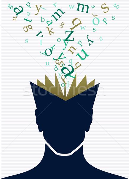 Human head book words concept. Stock photo © cienpies