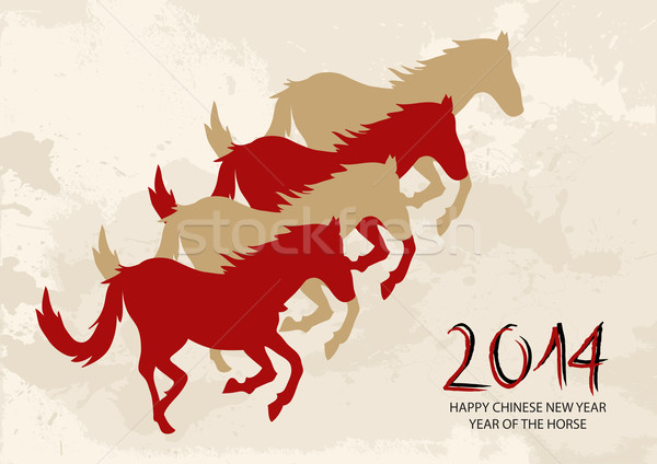 Chinese new year Horse shapes composition vector file. Stock photo © cienpies