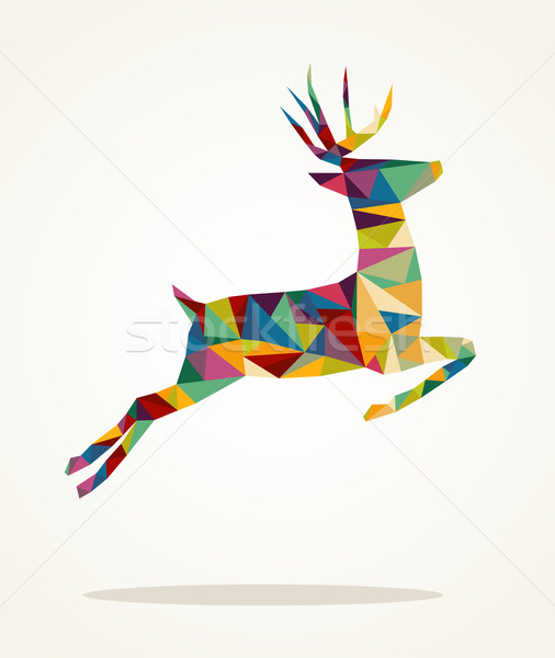 Merry Christmas contemporary triangle reindeer greeting card Stock photo © cienpies