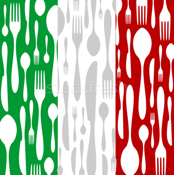 Italian Cuisine: Cutlery pattern on the country flag Stock photo © cienpies