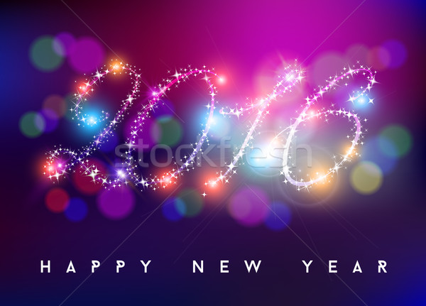 Happy new year 2016 bokeh blur color star shape Stock photo © cienpies