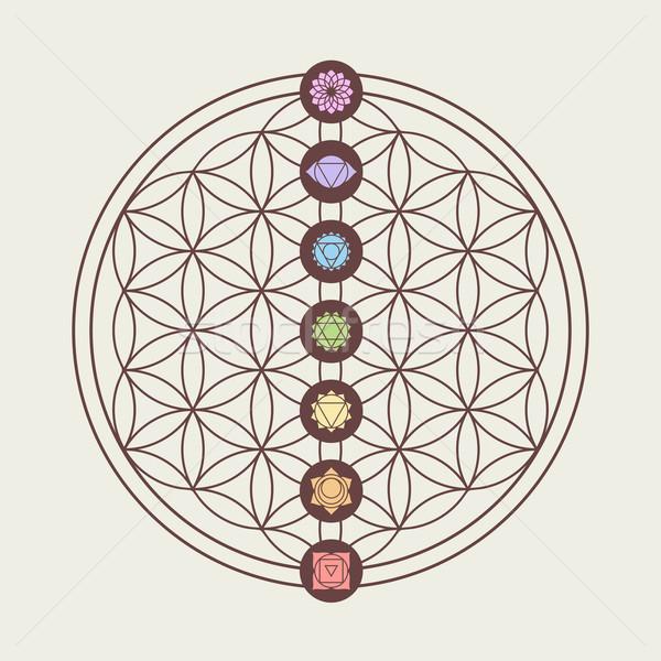 Chakra icônes sacré géométrie design zen Photo stock © cienpies