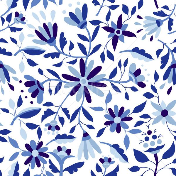Vintage flower pattern in indigo blue color Stock photo © cienpies