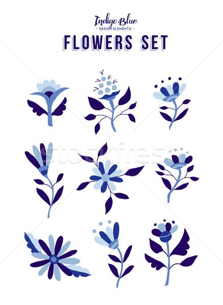 Spring flower ornament set in indigo blue color  Stock photo © cienpies