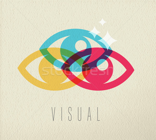 Visual eye view icon concept color design Stock photo © cienpies
