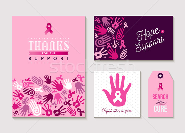 Pink breast cancer design set for awareness  Stock photo © cienpies