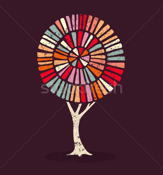 красочный этнических стиль дерево иллюстрация украшение Сток-фото © cienpies