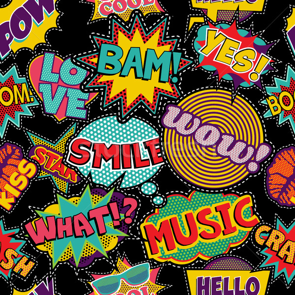 Comic pop art stitch patch seamless pattern Stock photo © cienpies