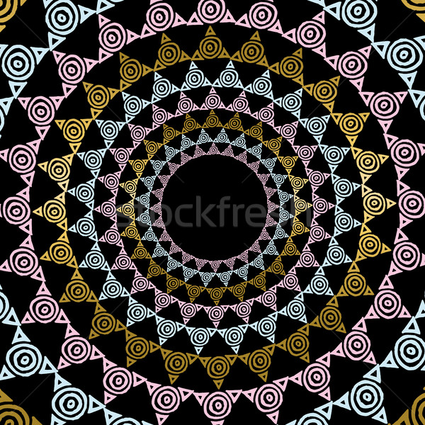 Gold mandala decoration in tribal art style Stock photo © cienpies
