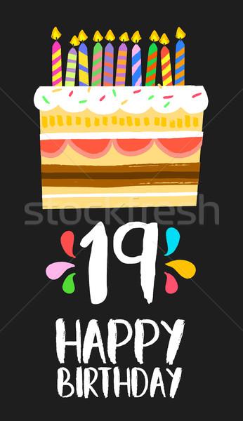 Gelukkige verjaardag cake kaart 19 negentien jaar Stockfoto © cienpies