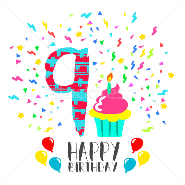 Happy Birthday card for 9 year kid fun party art Stock photo © cienpies