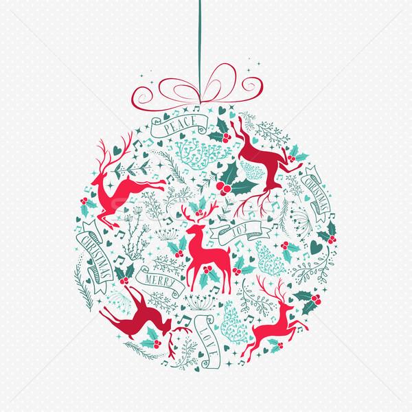 Wesoły christmas retro cacko ozdoba dekoracji Zdjęcia stock © cienpies