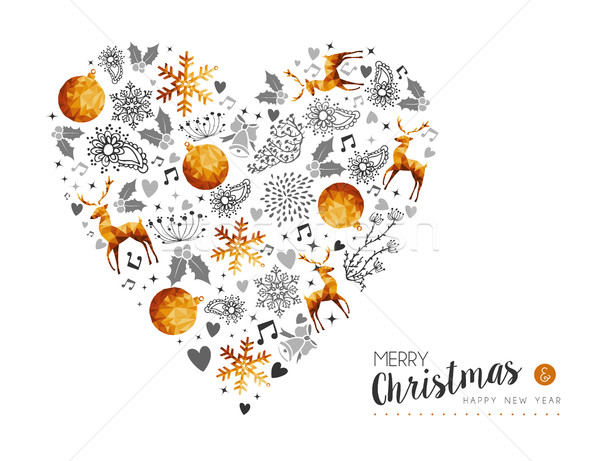 Merry Christmas and New Year gold love decoration Stock photo © cienpies