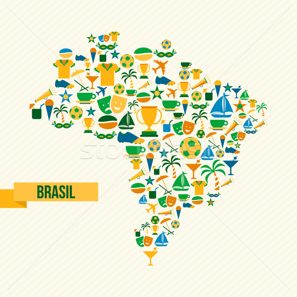 Brazília életstílus térkép sport kultúra ikon gyűjtemény Stock fotó © cienpies