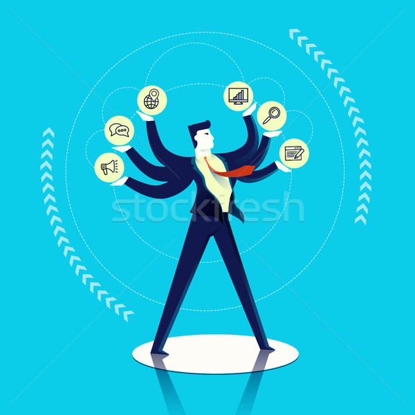 Business man multitask concept illustration  Stock photo © cienpies