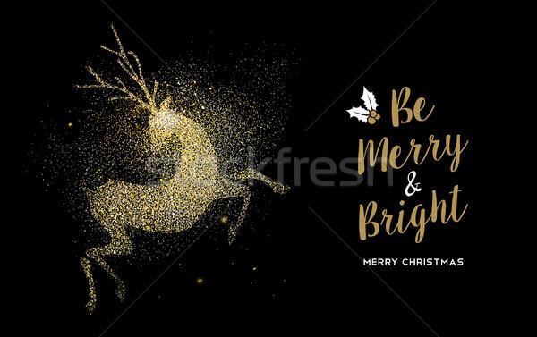 Vidám karácsony arany csillámlás szarvas ünnep Stock fotó © cienpies
